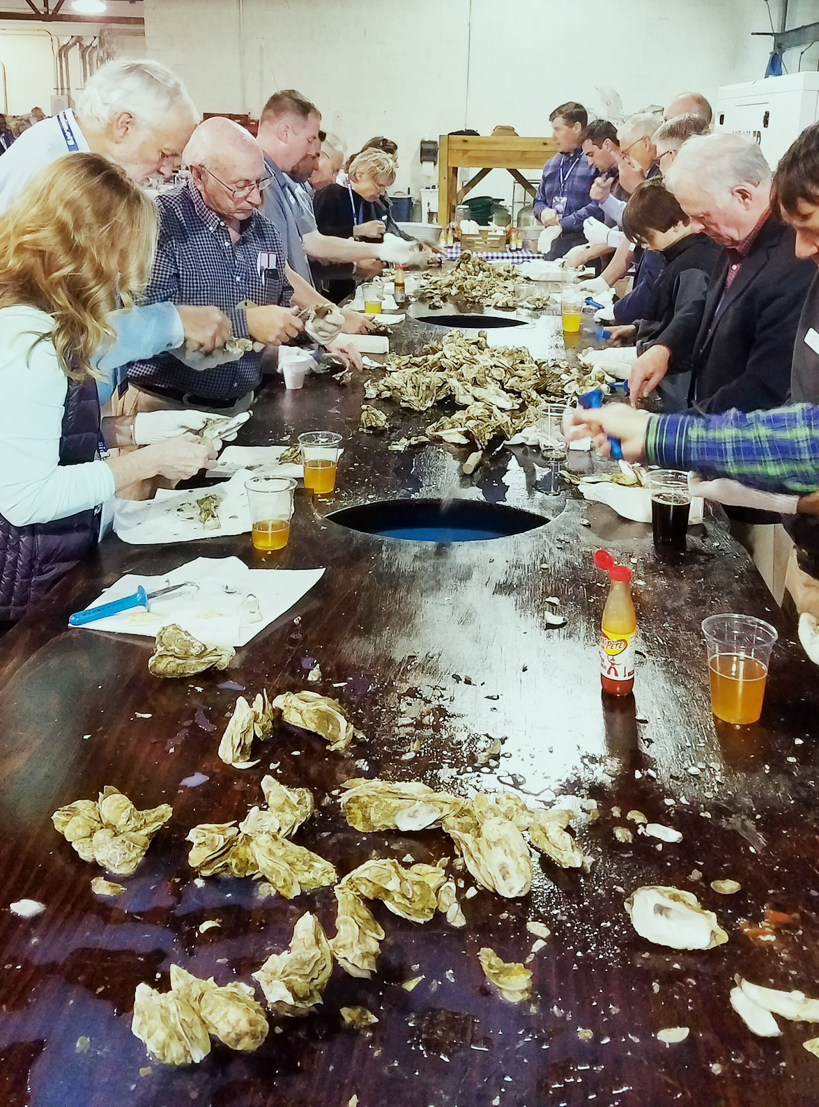 people eating oysters at an oyster roast