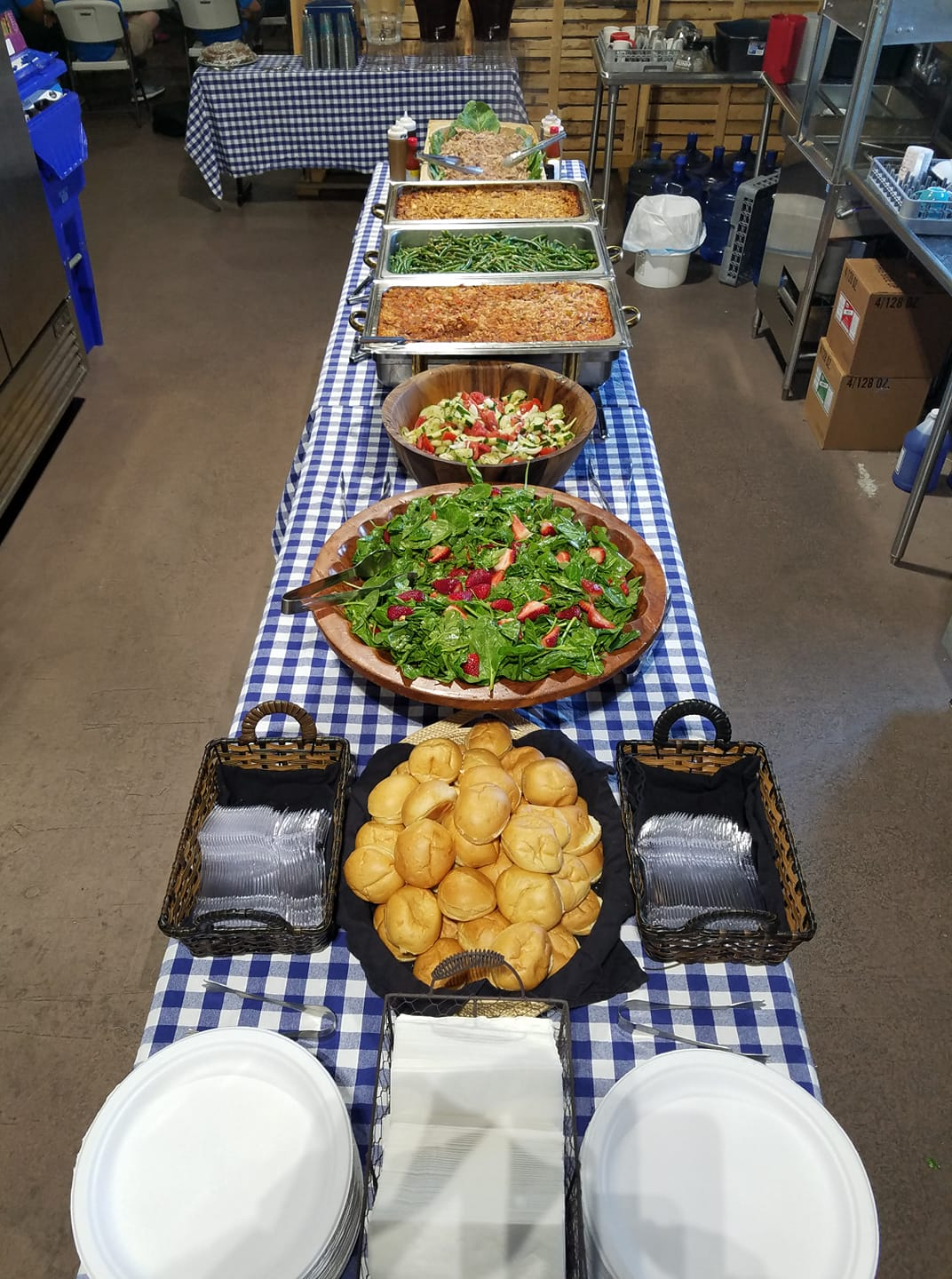 catering table with lots of food